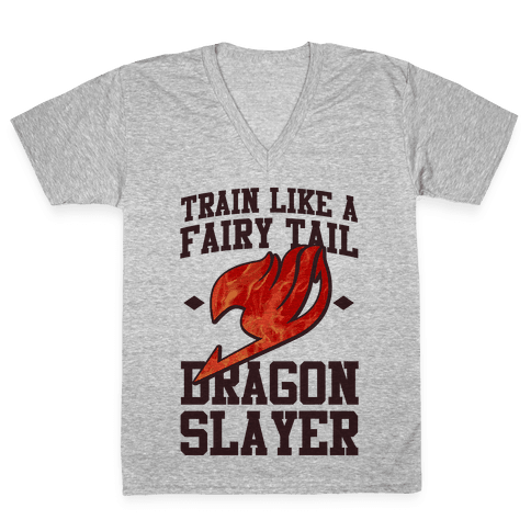 Train Like a Fairy Tail Dragon Slayer (Natsu) V-Neck Tee Shirt