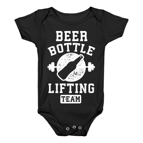 Beer Bottle Lifting Team Baby Onesy