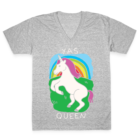 Yas Queen Unicorn V-Neck Tee Shirt