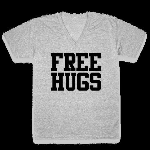 Free Hugs V-Neck Tee Shirt