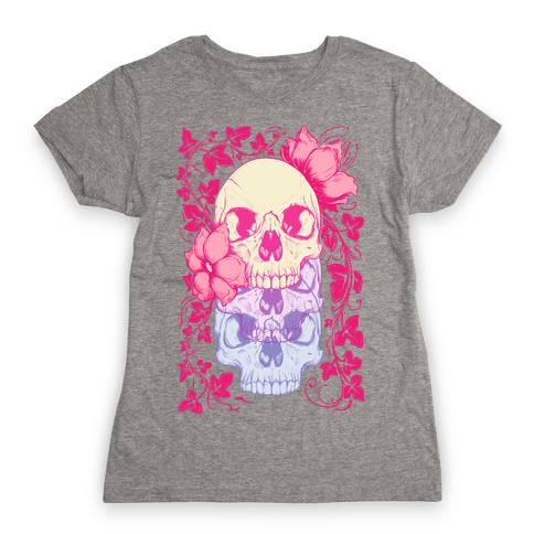 Skull of Vines and Flowers Womens T-Shirt