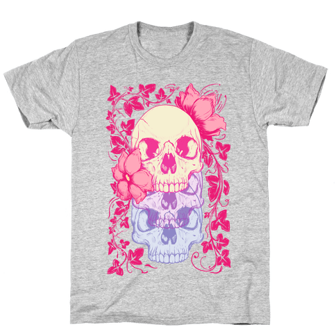 Skull of Vines and Flowers Mens T-Shirt