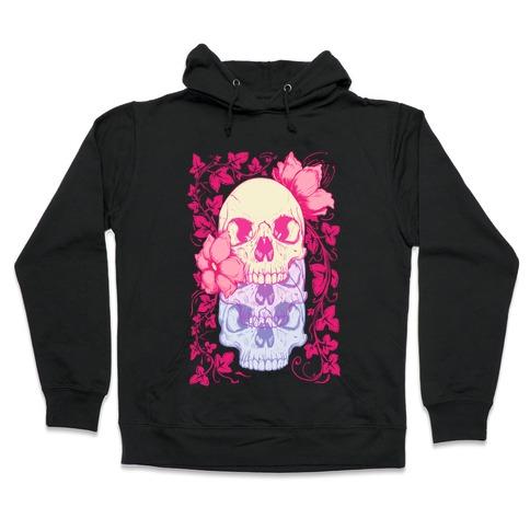 Skull of Vines and Flowers Hooded Sweatshirt