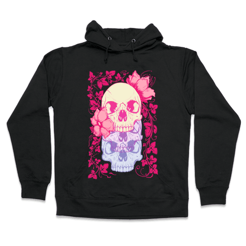 Skull of Vines and Flowers Hooded Sweatshirt