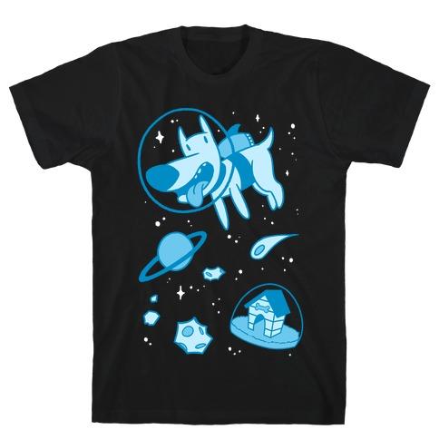 Blast Off Space Dog Mens T-Shirt