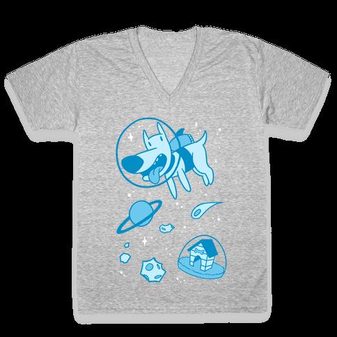 Blast Off Space Dog V-Neck Tee Shirt