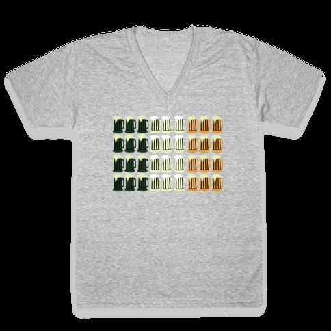 Irish Mug Flag V-Neck Tee Shirt
