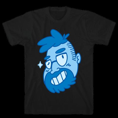 Cute Scruffy Dude (Blue) Mens T-Shirt