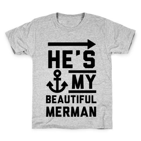 He's My Beautiful Merman Kids T-Shirt