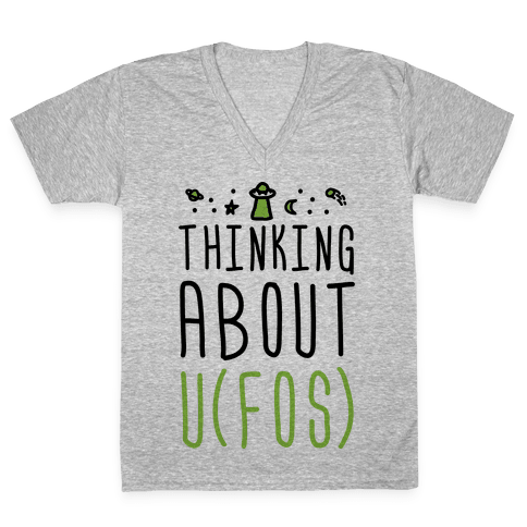 Thinking About UFOs V-Neck Tee Shirt