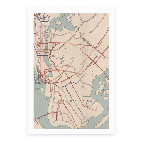 Vintage Brooklyn Map Poster