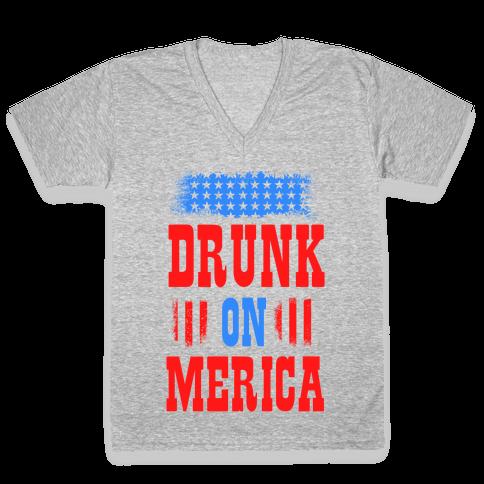 Drunk on Merica! V-Neck Tee Shirt