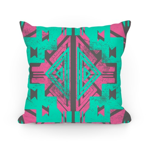 Pink and Mint Aztec Pattern Pillow