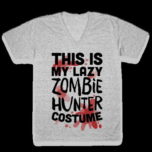 Lazy Zombie Hunter Costume V-Neck Tee Shirt
