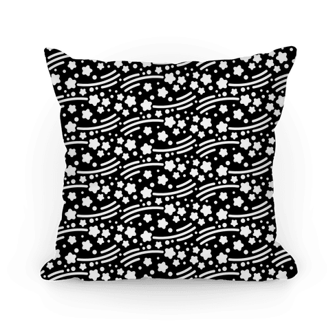 Black and White Shooting Stars Pattern Pillow