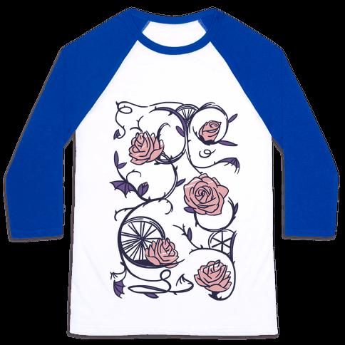 Sleeping Beauty Briar Rose Floral Pattern Baseball Tee