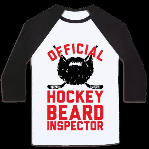 Official Hockey Beard Inspector Baseball Tee