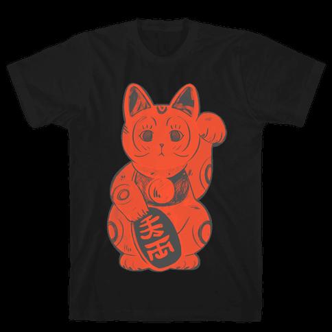 Japanese Lucky Cat Mens T-Shirt