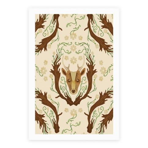 Floral Deer Poster