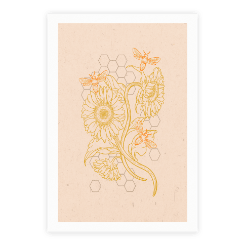 Honeybees & Sunflowers Poster