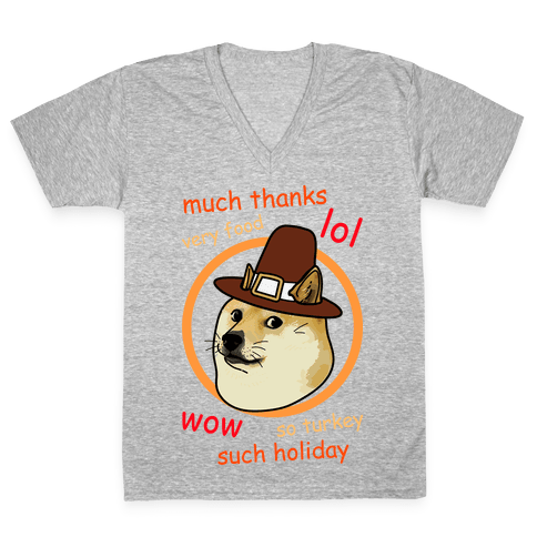 Doge Thanksgiving V-Neck Tee Shirt