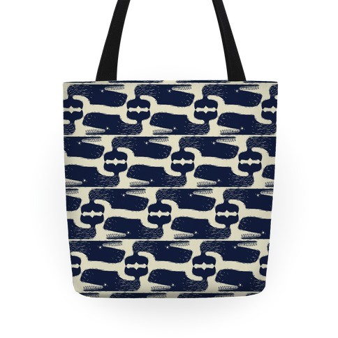 Vintage Nautical Whale Pattern Tote