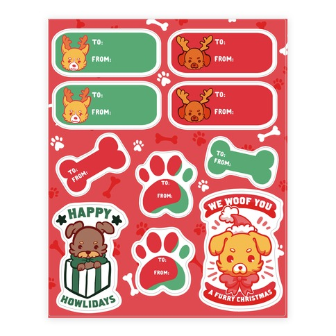 Puppy Dog Christmas Gift Tags Sticker/Decal Sheet