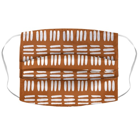 Dashed Lines Rust Boho Pattern Accordion Face Mask