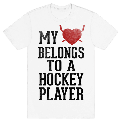 My Heart Belongs To a Hockey Player (Baseball Tee) Mens T-Shirt