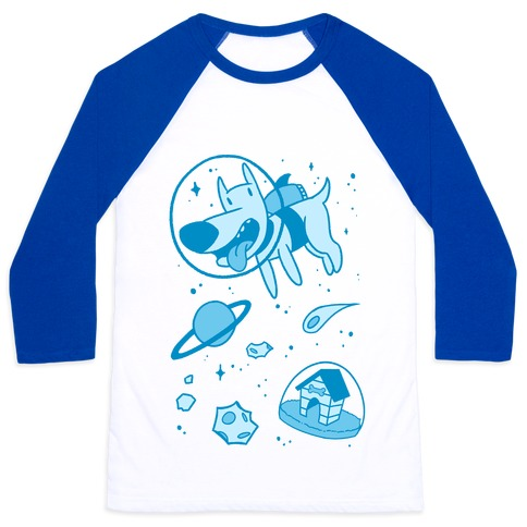 Blast Off Space Dog Baseball Tee