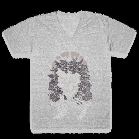 Mother's Lovely Skull V-Neck Tee Shirt