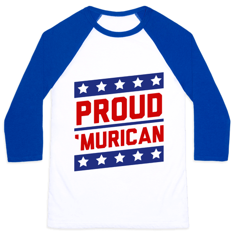 Proud Merican Patriot Baseball Tee
