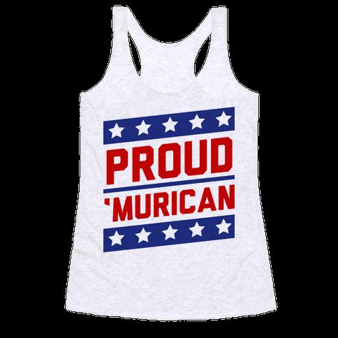 Proud Merican Patriot Racerback Tank Top