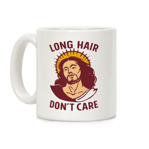 Long Hair Don't Care Jesus Coffee Mug