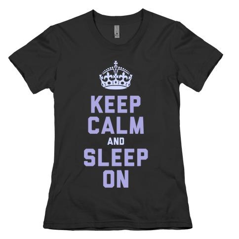 Keep Calm and Sleep On (Purple) Womens T-Shirt