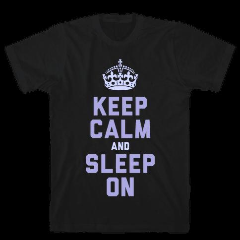 Keep Calm and Sleep On (Purple) Mens T-Shirt