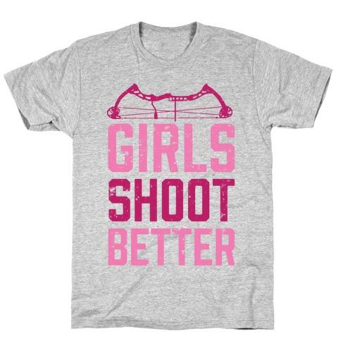 Girls Shoot Better (Bow) Mens T-Shirt