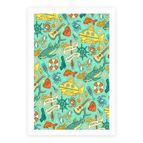 Life Aquatic Nautical Pattern Poster