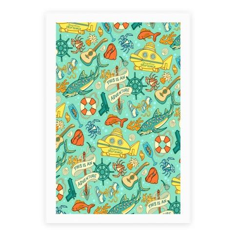 Life Aquatic Nautical Pattern Poster