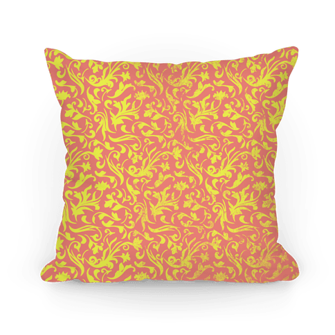 Yellow and Orange Medieval Flower Pattern Pillow