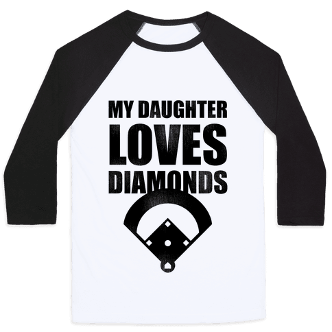 My Daughter Loves Diamonds Vintage (Softball) Baseball Tee