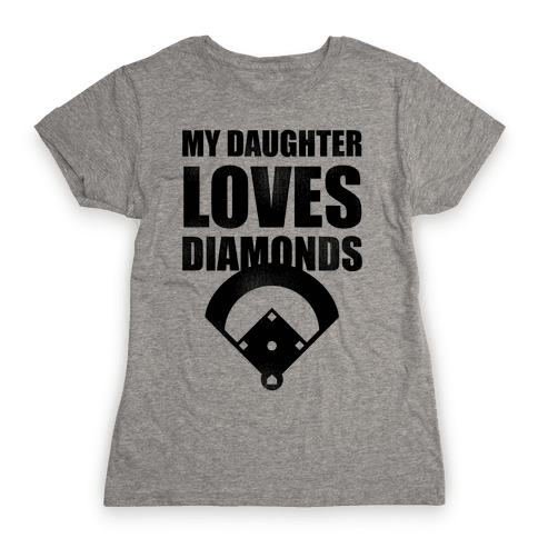 My Daughter Loves Diamonds Vintage (Softball) Womens T-Shirt