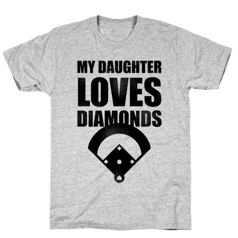 My Daughter Loves Diamonds Vintage (Softball) Mens T-Shirt