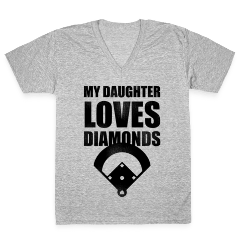 My Daughter Loves Diamonds Vintage (Softball) V-Neck Tee Shirt