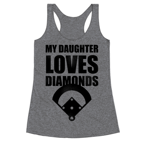My Daughter Loves Diamonds Vintage (Softball) Racerback Tank Top