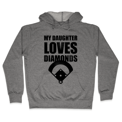 My Daughter Loves Diamonds Vintage (Softball) Hooded Sweatshirt