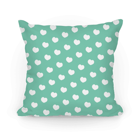 Green Polka Dot Hearts Pillow