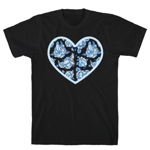 Floral Penis Pattern Heart T-Shirt
