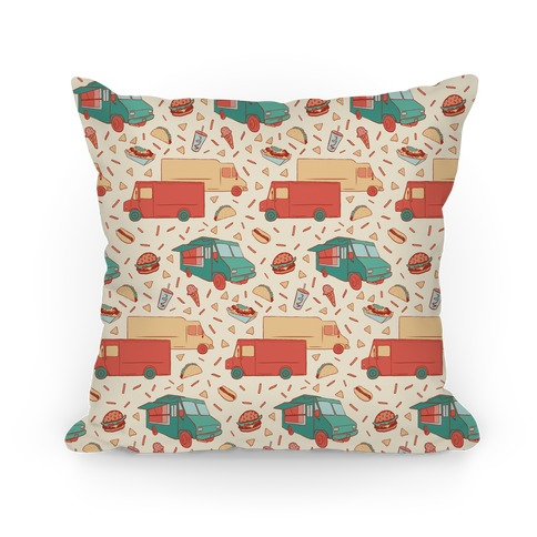 Food Truck Festival Pattern Pillow