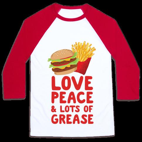 Love, Peace, & Lots of Grease Baseball Tee